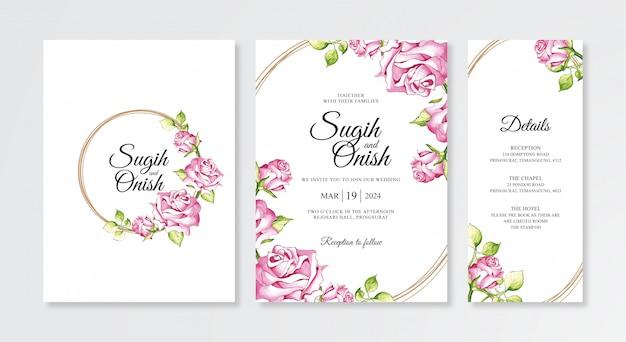 Bella mano che dipinge acquerello floreale dei modelli stabiliti dell'invito di nozze