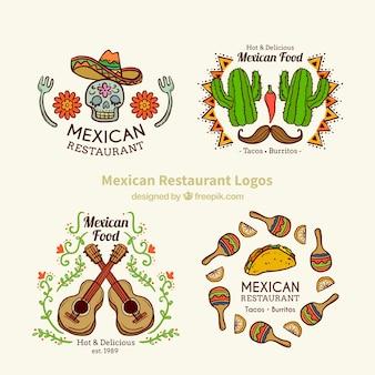 Bella mano disegnato loghi messicani