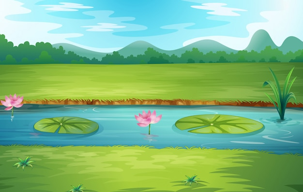 Bella natura fiume paesaggio
