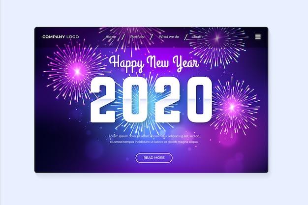 Bella offuscata pagina di destinazione del nuovo anno