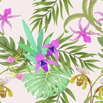 Bella orchidea con motivo a foglia tropicale senza soluzione di continuità.