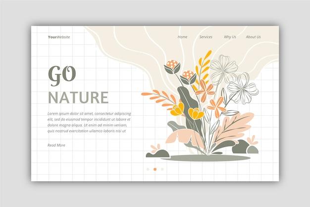 Bella pagina di destinazione natura disegnata a mano