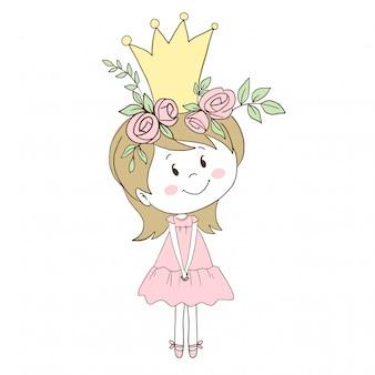 Bella piccola principessa in abito rosa
