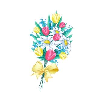 Bella primavera mazzo di fiori con un fiocco giallo.