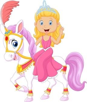 Bella principessa con cavallo da circo