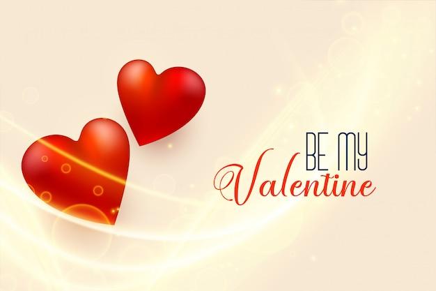 Bella priorità bassa di giorno dei biglietti di s. valentino con i cuori rossi 3d
