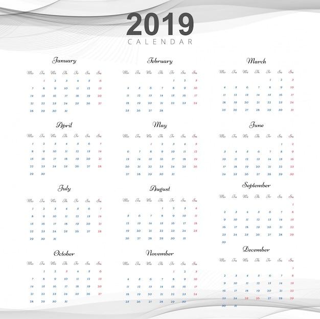Bella progettazione del calendario aziendale 2019