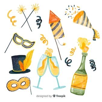 Bella raccolta di elementi del partito di anno nuovo dell'acquerello