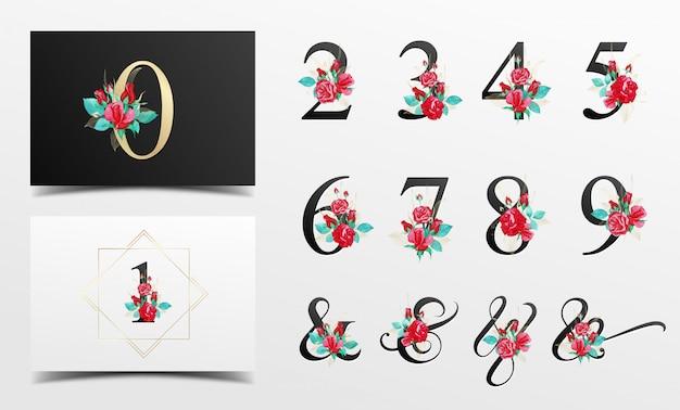 Bella raccolta di numeri di alfabeto con decorazione floreale dell'acquerello rosso