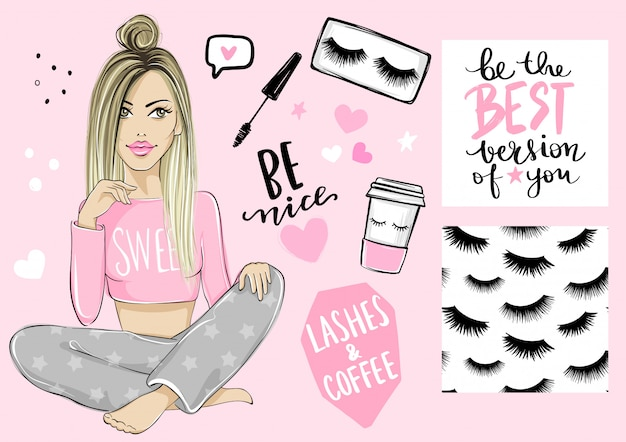 Bella ragazza bionda, modello senza cuciture con ciglia, poster con citazione ispiratrice, mascara e tazza di caffè di carta.