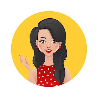 Bella ragazza castana in un vestito rosso