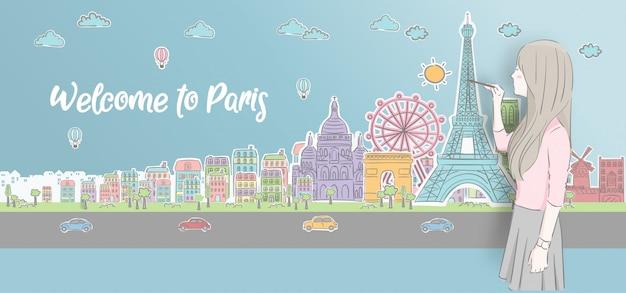 Bella ragazza che disegna i punti di riferimento di parigi, francia