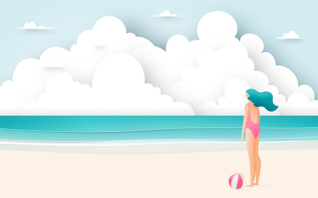 Bella ragazza con bella spiaggia