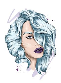 Bella ragazza con i capelli lunghi. illustrazione.