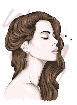 Bella ragazza con i capelli lunghi.