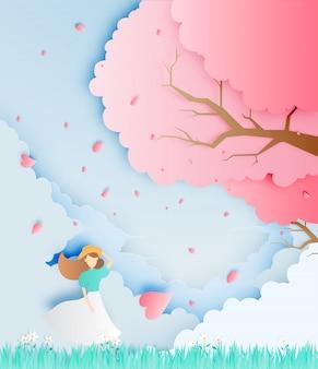 Bella ragazza con l'albero del fiore di ciliegia nell'illustrazione di vettore di stile di arte della carta del campo di erba