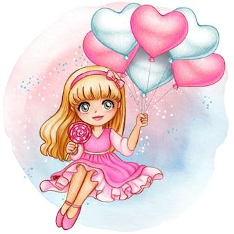 Bella ragazza dell'acquerello che tiene i palloni rosa romantici del cuore