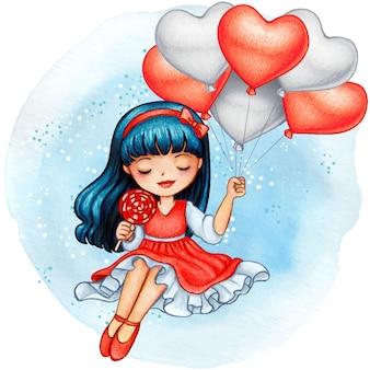 Bella ragazza dell'acquerello che tiene i palloni rossi romantici del cuore