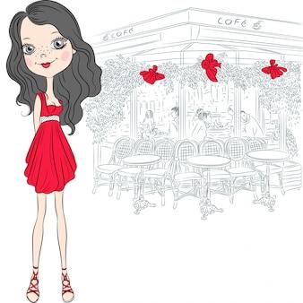 Bella ragazza di moda di vettore a parigi