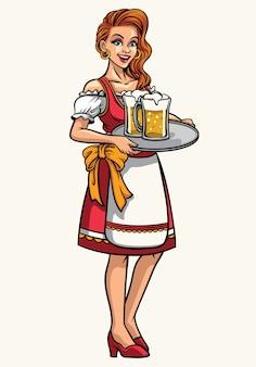 Bella ragazza di oktoberfest indossando abiti tradizionali bavaresi drindl e presentando le birre