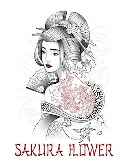 Bella ragazza giapponese con tatuaggio drago sulla schiena