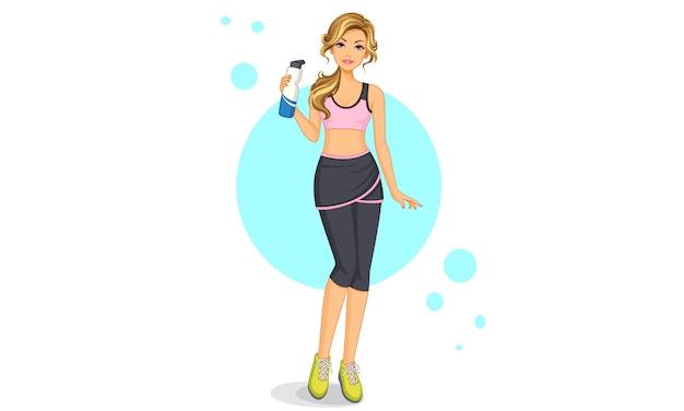 Bella ragazza in palestra posa in piedi tenendo una bottiglia d'acqua