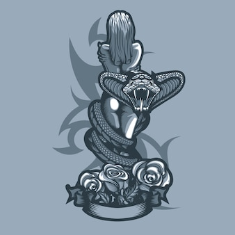Bella ragazza nuda tra le braccia di un serpente
