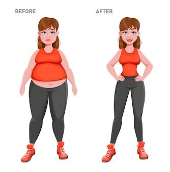 Bella ragazza prima e dopo la perdita di peso.
