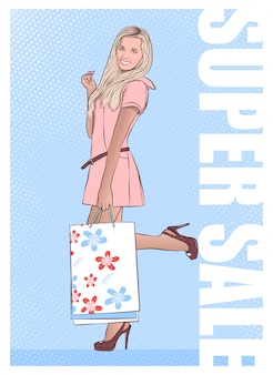 Bella ragazza ritorna dallo shopping con gli acquisti