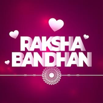 Bella raksha bandhan sfondo viola con cuori
