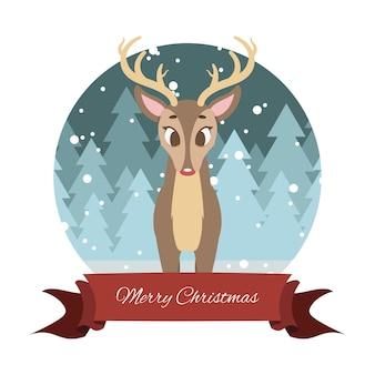 Bella renna con sfondo stilizzato e banner festivo