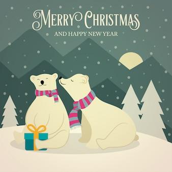 Bella retro cartolina di natale con coppia di orsi polari