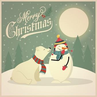 Bella retro cartolina di natale con orso polare e pupazzo di neve