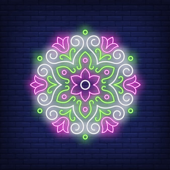Bella rotonda floreale mandala segno al neon