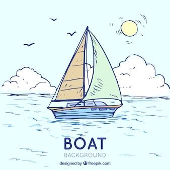 Bella scena con la barca in stile disegnato a mano