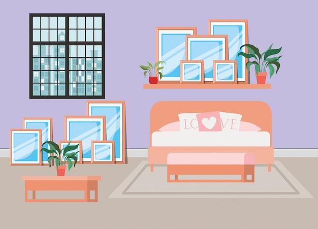 Bella scena della casa del letto