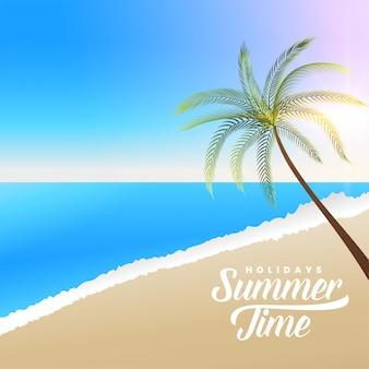Bella scena della spiaggia di estate con la palma