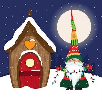 Bella scena natalizia con gnomo