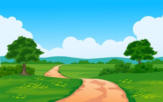 Bella scena rurale con sentiero nella foresta