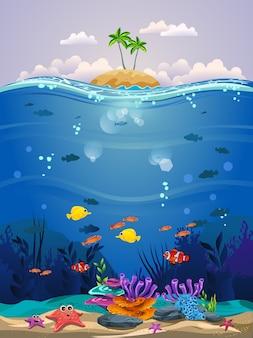 Bella scena subacquea. bellissimo sfondo subacqueo con barriere coralline, pesci e alghe