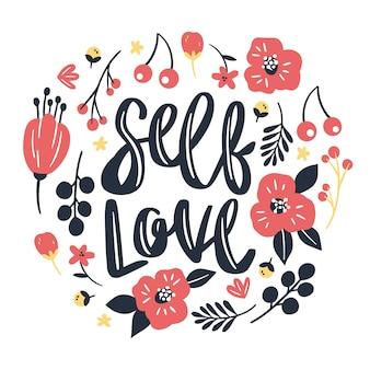 Bella scritta self love con fiori rossi