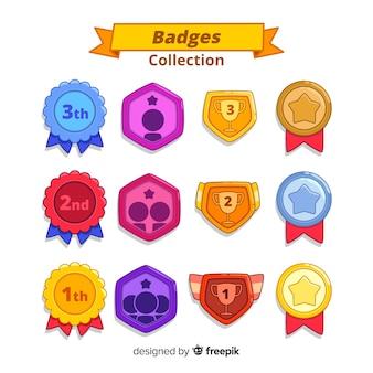Bella serie di badge disegnati a mano