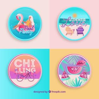 Bella serie di badge estivi