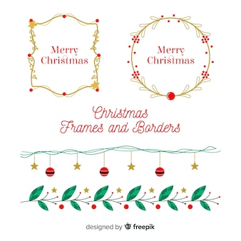 Bella serie di bordi e cornici natalizie