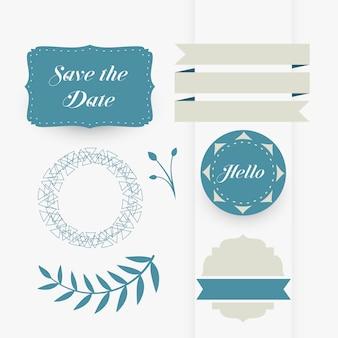 Bella serie di elementi decorativi di design di nozze