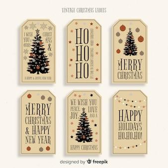 Bella serie di etichette vintage natalizie
