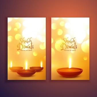 Bella serie di felice diwali volantini biglietto di auguri