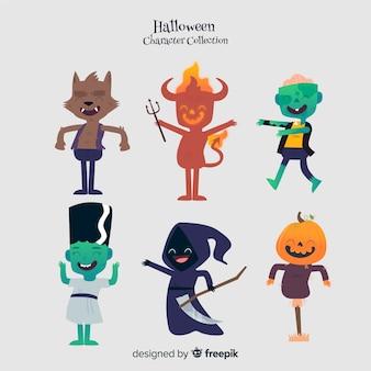 Bella serie di personaggi di halloween con design piatto