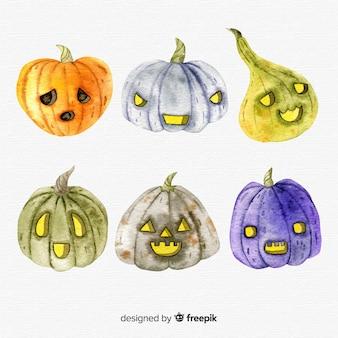 Bella serie di zucche di halloween acquerello