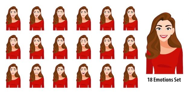 Bella signora dei capelli lunghi in camicia rossa con differenti espressioni facciali messe isolate nello stile del personaggio dei cartoni animati